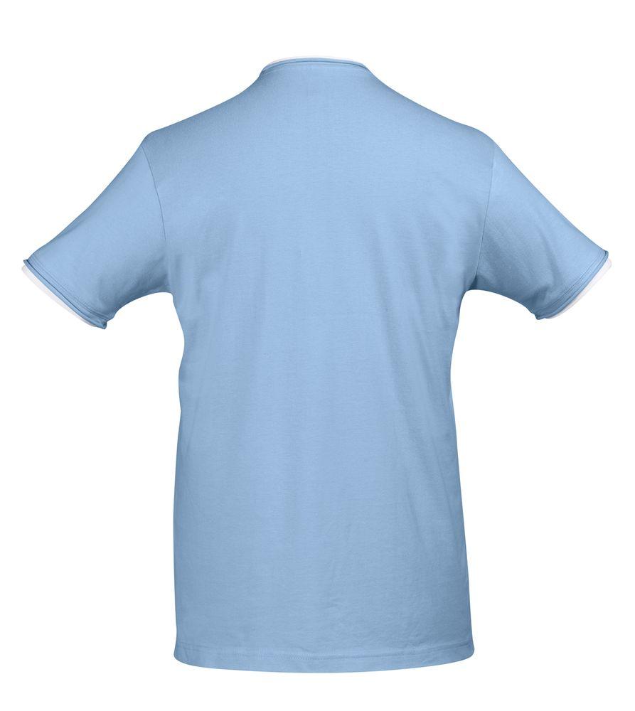 Футболка мужская с контрастной отделкой MADISON 170, голубой/белый