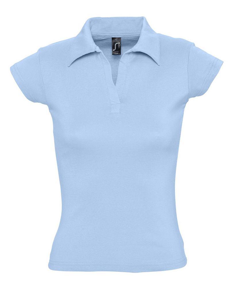 Рубашка поло женская без пуговиц PRETTY 220 голубая
