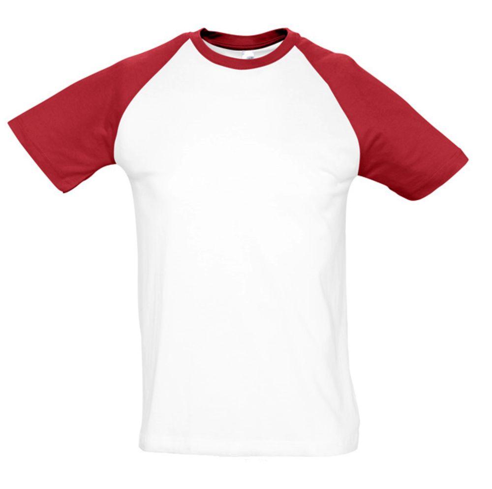 Футболка мужская двухцветная FUNKY 150, белый/красный