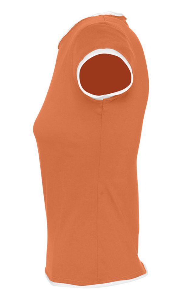 Футболка женская MOOREA 170 оранжевая с белой отделкой