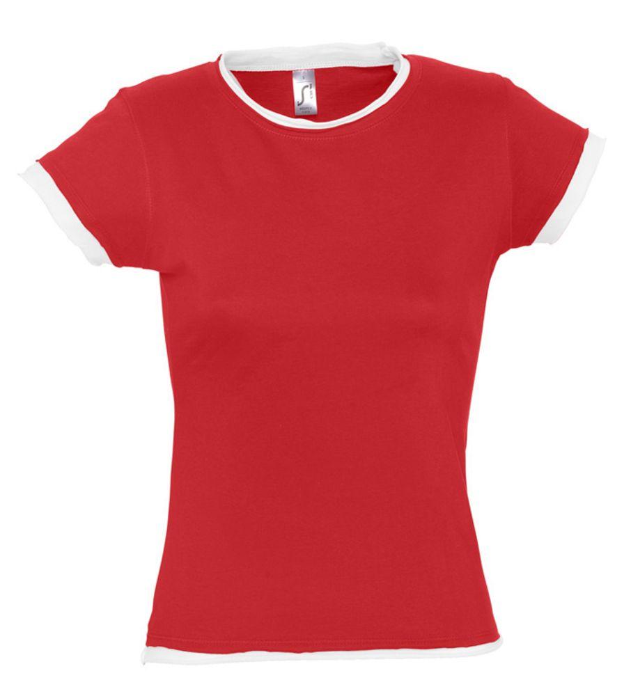 Футболка женская MOOREA 170 красная с белой отделкой