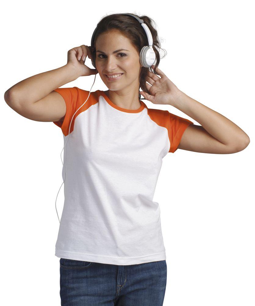 Футболка женская MILKY 150 белая с оранжевым