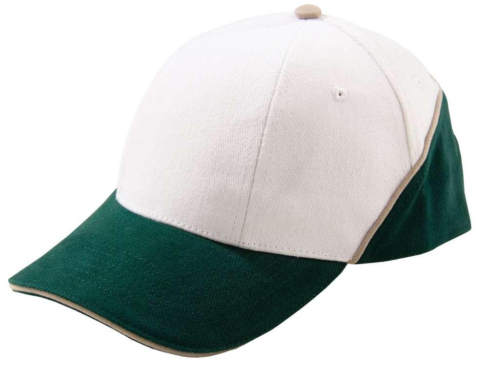 Бейсболка Unit Art, белая с зеленым