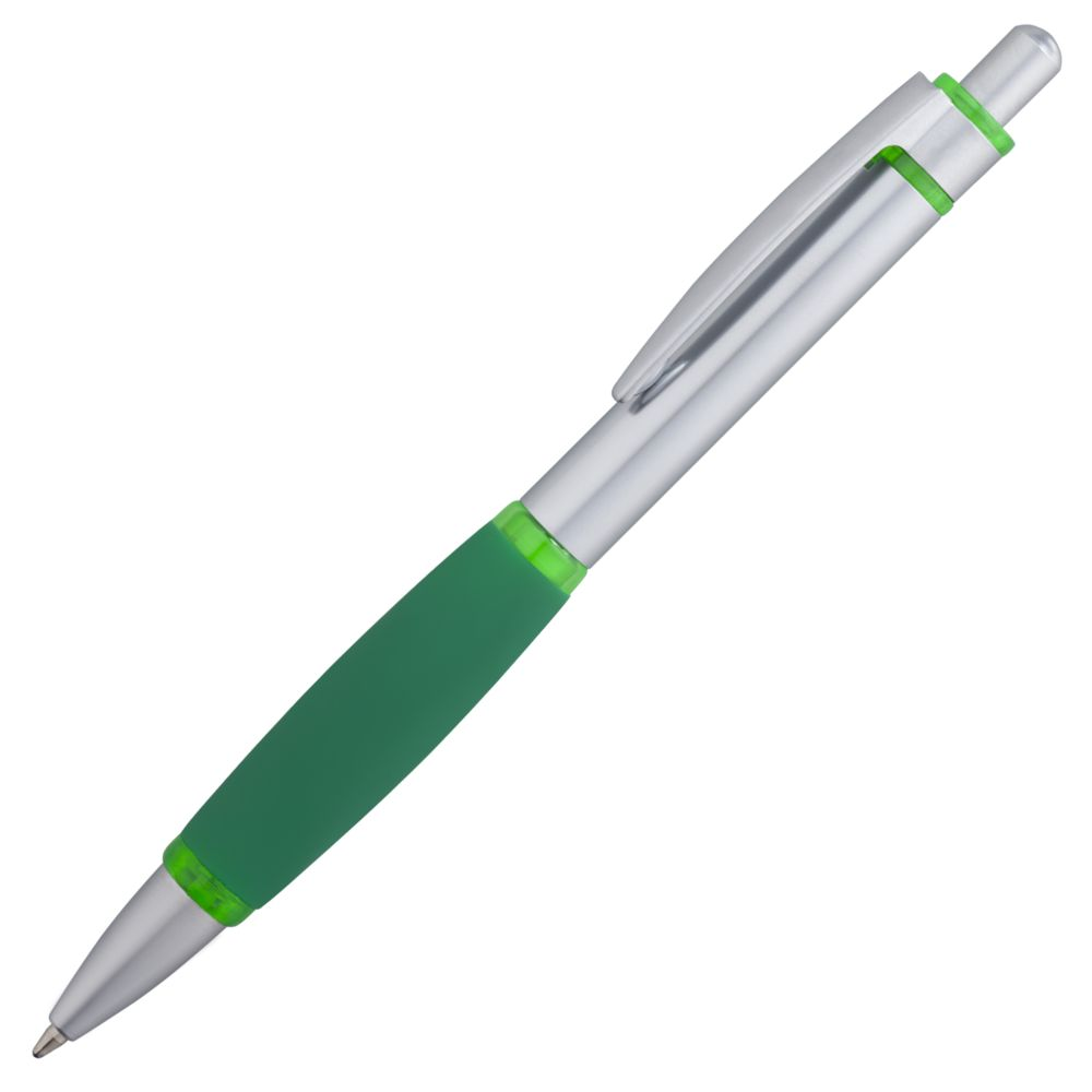 Ручка шариковая Boomer, с зелеными элементами