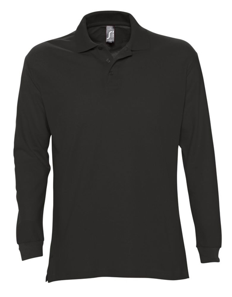 Рубашка поло мужская с длинным рукавом STAR 170, черная