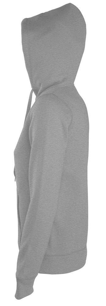 Толстовка женская на молнии с капюшоном Seven Women 290, серый меланж