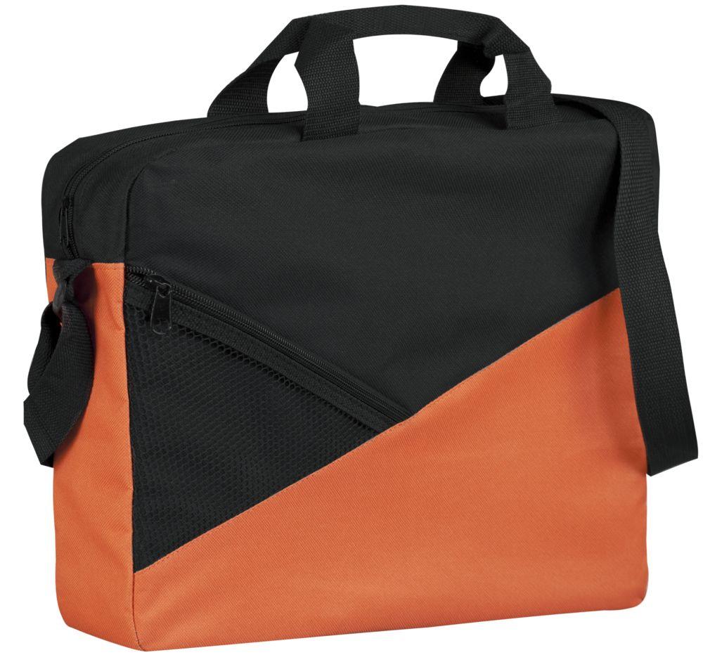 Конференц-сумка Slice, черно-оранжевая
