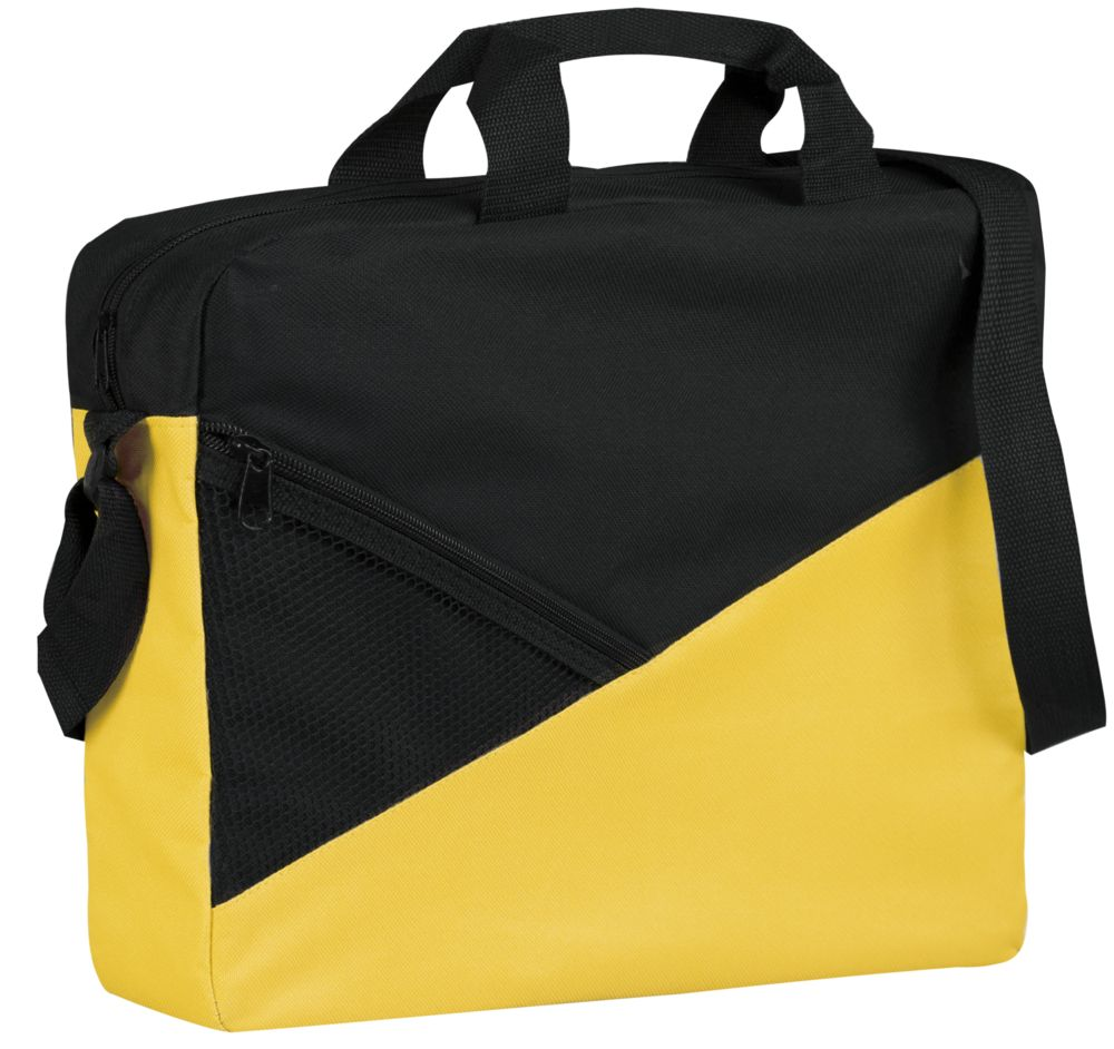 Конференц-сумка Slice, черно-желтая
