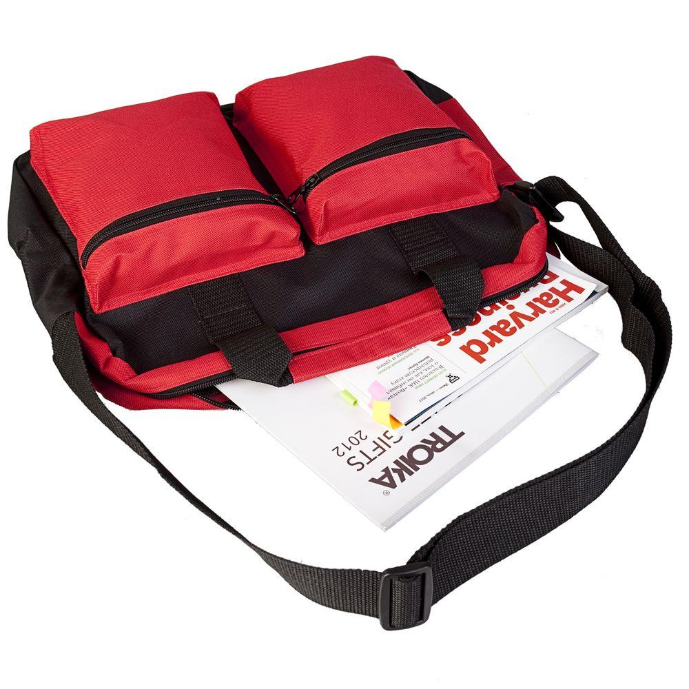 Конференц-сумка Double pocket, черно-красная