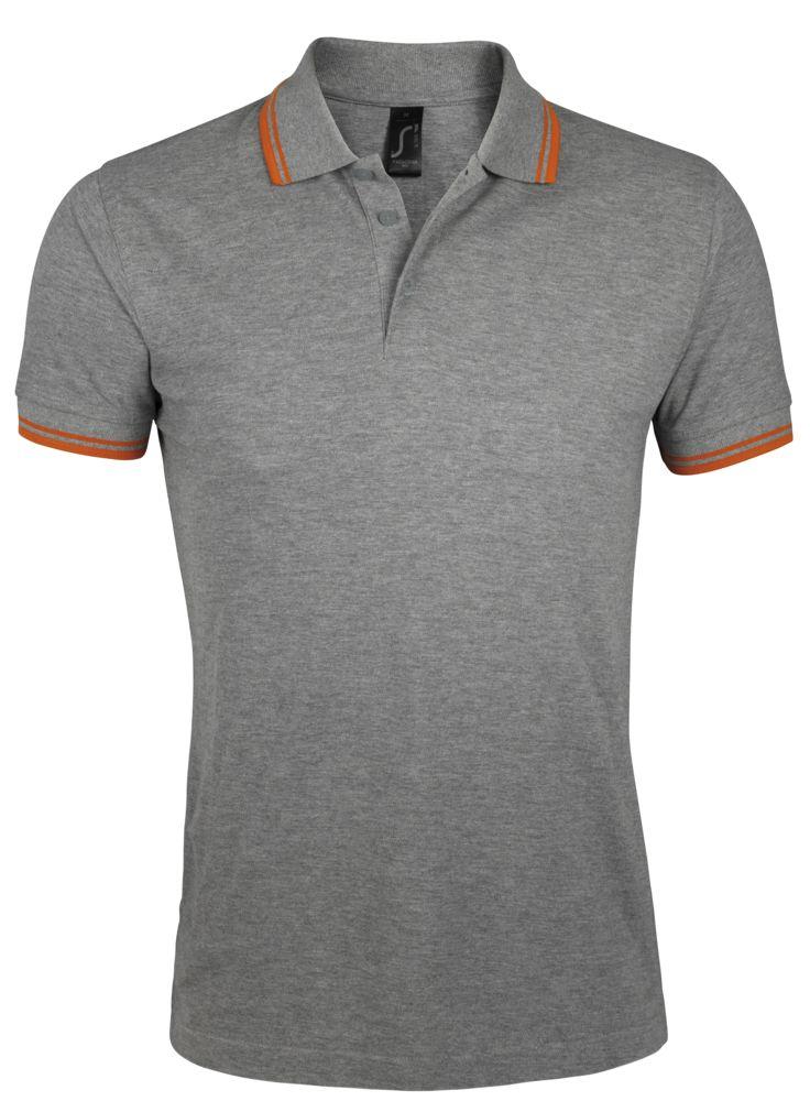 Рубашка поло мужская PASADENA MEN 200 с контрастной отделкой, серый меланж/оранжевый