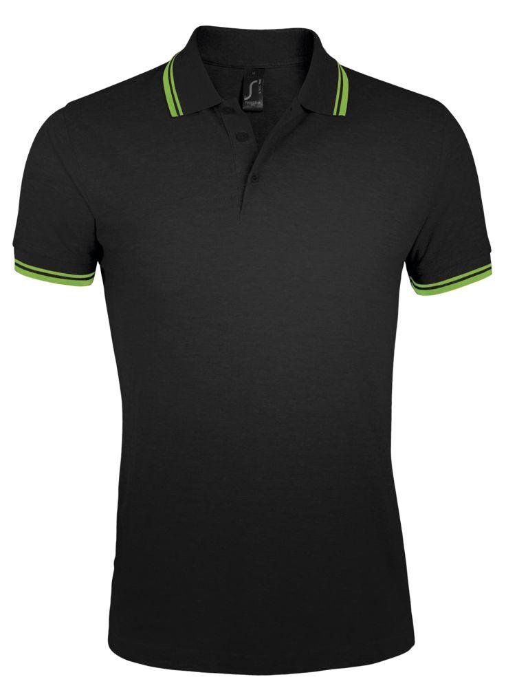 Рубашка поло мужская PASADENA MEN 200 с контрастной отделкой, черный/зеленый