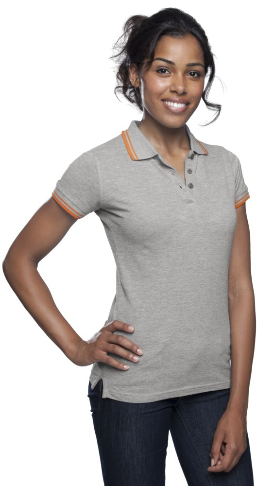 Рубашка поло женская PASADENA WOMEN 200 с контрастной отделкой, серый меланж/оранжевый