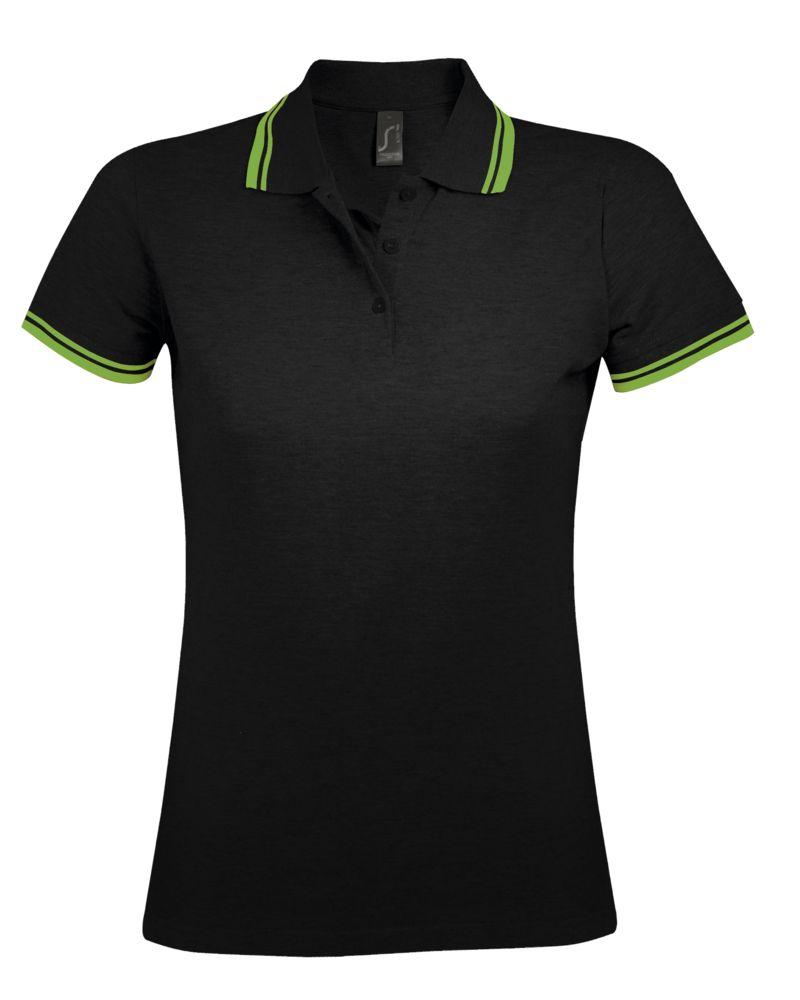 Рубашка поло женская PASADENA WOMEN 200 с контрастной отделкой, черный/зеленый