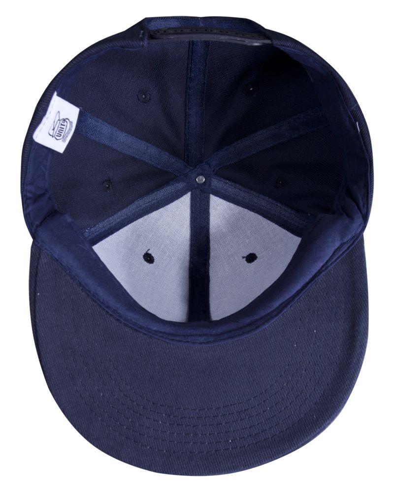 Бейсболка Unit Snapback с плоским козырьком, темно-синяя
