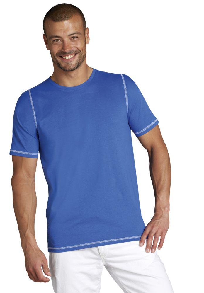 Футболка мужская с контрастной отделкой MUSTANG 150, ярко-синий/белый