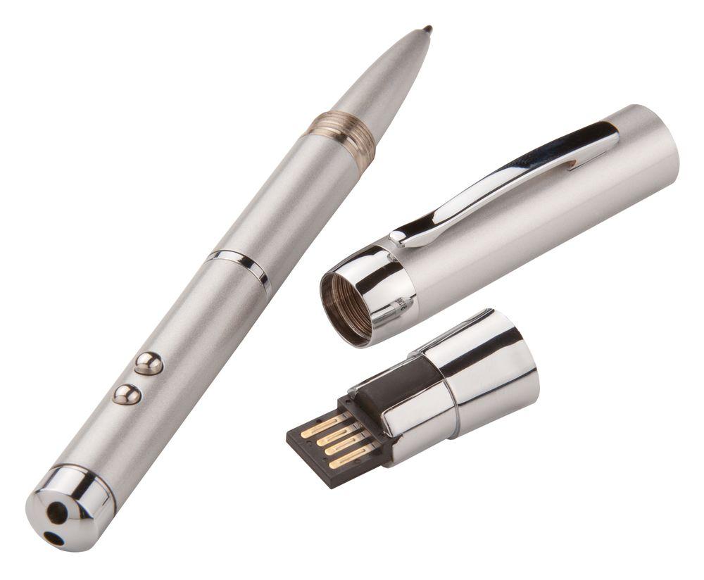 Флешка с ручкой, фонариком и лазерной указкой, серая, 8 Гб