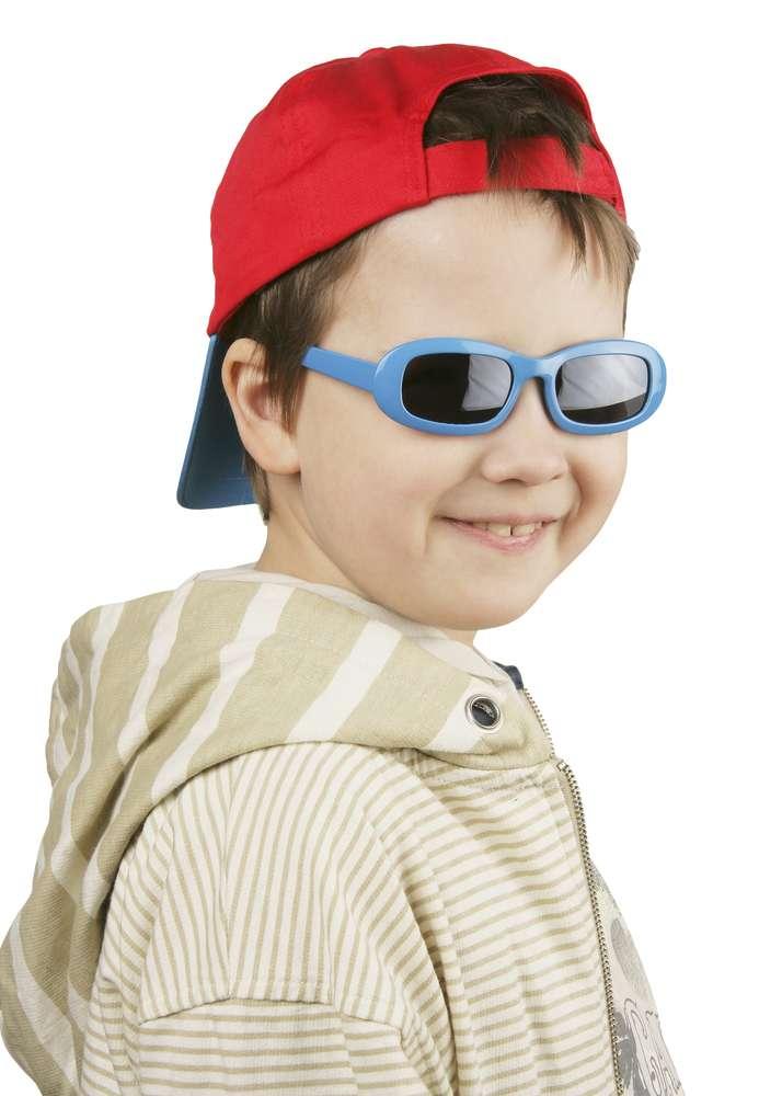 Бейсболка Unit Sunny Kid с солнцезащитными очками, красная с синим