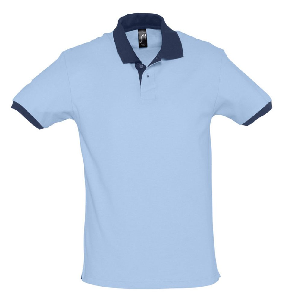 Рубашка поло Prince 190 голубая с темно-синим
