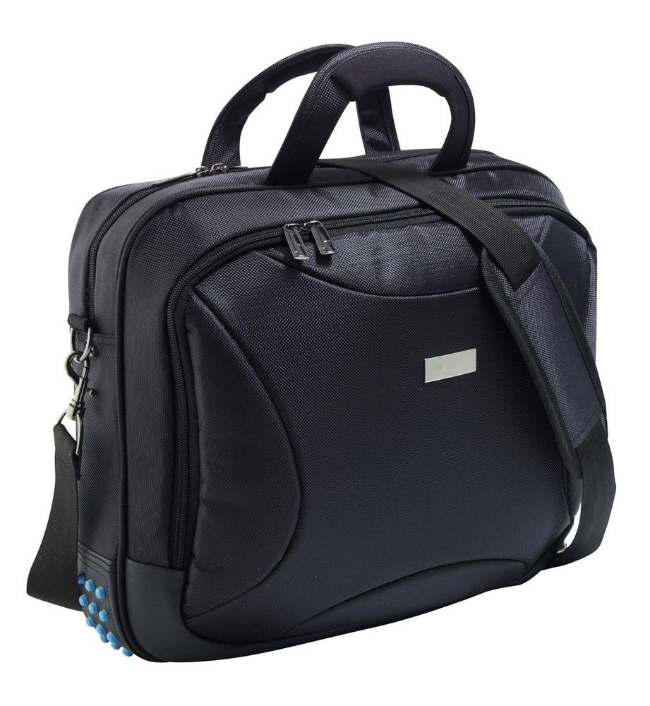 Сумка для ноутбука с жестким корпусом Ultimate, с голубыми вставками, черная