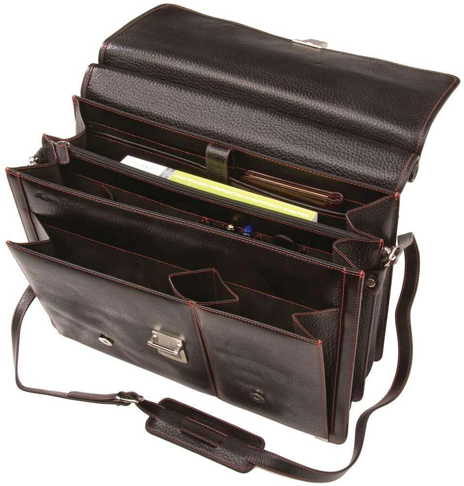 Портфель Viaggi, черный с красной отделкой