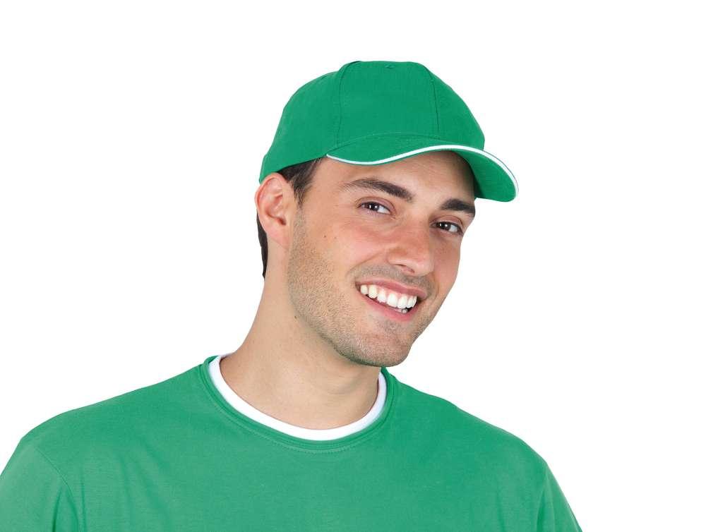 Бейсболка BUFFALO, ярко-зеленая с белым