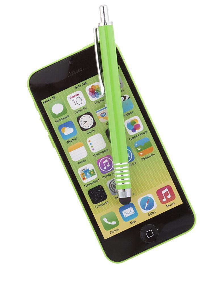 Ручка шариковая Finger со стилусом, зеленая