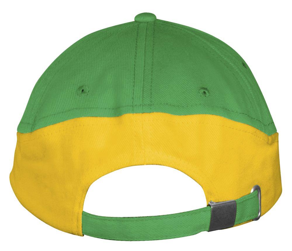 Бейсболка BOOSTER, ярко-зеленая с желтым