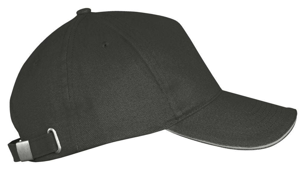 Бейсболка LONG BEACH, темно-серая со светло-серым