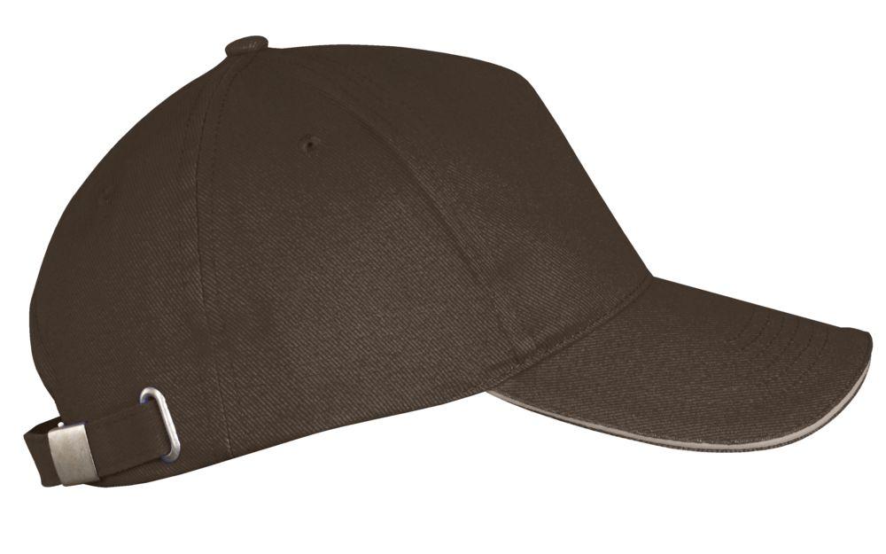 Бейсболка LONG BEACH, коричневая с бежевым